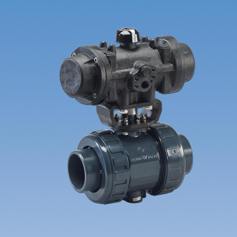 Type actuated plastic ball valves series pneumatic