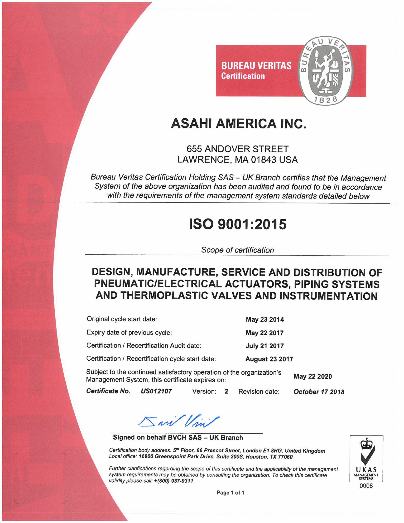 Certificado final 493868 de Asahi