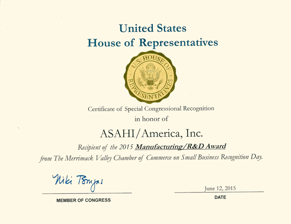 House of Rep Award 2015